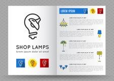 Opuscolo per le lampade del negozio, icona della lampada illustrazione vettoriale