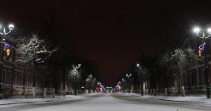 Opustoszała miasto ulica w zimy nocy zdjęcie wideo