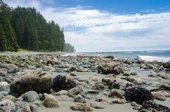 Opustoszała plaża w Sooke, BC, Kanada i niebieskie niebo z chmurami, obrazy royalty free