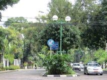 Opustoszała ulica w Menteng, Dżakarta Obraz Royalty Free