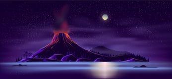 Opustoszała wyspa z aktywnego wulkanu kreskówki wektorem ilustracji