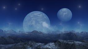 Opustoszała ziemia z planetami ilustracja wektor