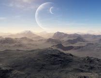 Opustoszała ziemia z planetami w tle ilustracja wektor