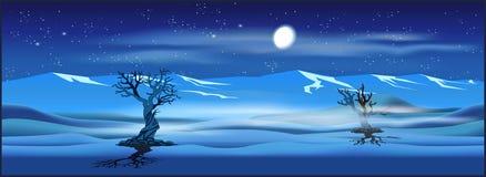 Opustoszały krajobraz przy nocą royalty ilustracja