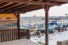 Opustoszały rybi rynek w zimie Pomorie, Bułgaria zdjęcie royalty free
