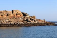 Opustoszały buiding na Halifax wyspie - Luderitz, Namibia Fotografia Stock