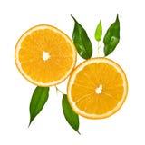 opuszczać pomarańczowego plasterek dwa obraz stock