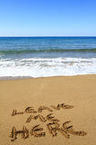 Opuszcza ja tutaj, pisać na plaży Zdjęcie Stock