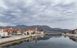 Opuzen city 1. River Neretva, Opuzen city. Croatia Royalty Free Stock Images