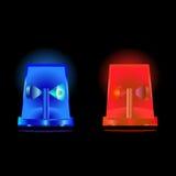 Opvlammende blauwe en rode sirenes stock illustratie