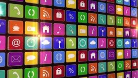 Opvlammende muur van app pictogrammen