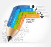 Opzione di infographics della scala della matita di istruzione Immagine Stock