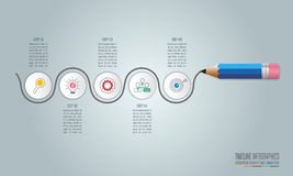 Opzione di punto del modello 5 di infographics di istruzione Infograp di cronologia illustrazione di stock