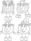 Opzione lineare di disegno una pecora e delle pecore Immagini Stock Libere da Diritti
