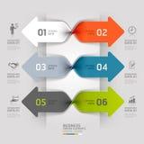 Opzione moderna di infographics di spirale di affari della freccia. Immagine Stock