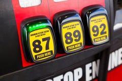 Opzioni dell'ottano del gas Immagine Stock Libera da Diritti