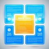 4 opzioni lucide blu, sistemate in un quadrato intorno all'idea principale Immagini Stock