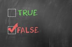 Opzioni vere o false Immagini Stock Libere da Diritti