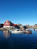 Oqaatsut village, Greenland. Oqaatsut is an old whaling settlement  in Rodebay north of Ilulissat Stock Photography