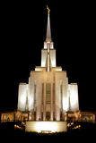 Oquirrh Mountain Temple at night Stock Image
