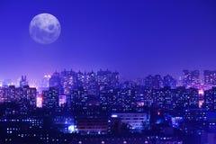 Oräkneliga blinka ljus av en stad Royaltyfri Fotografi