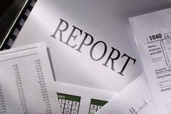 Orçamento, calendário e relatório fotografia de stock