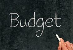 Orçamento, escrito com giz em um quadro-negro. Imagens de Stock Royalty Free