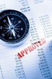 Orçamento operacional e compasso Imagens de Stock