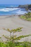 Orörd sandig strand Arkivbilder