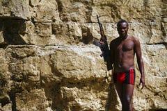 Orężny afrykanina buntownik z pistoletem Obraz Stock