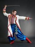 orężny cossack pozować Obraz Royalty Free
