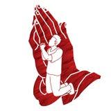 Oração, cristão que reza, deus do elogio, gráfico dos desenhos animados da adoração ilustração royalty free