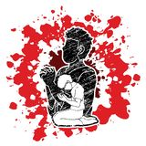 Oração, cristão que reza, deus do elogio, gráfico dos desenhos animados da adoração ilustração do vetor