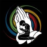 Oração do homem, elogio ao senhor ilustração stock
