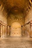 Oração Salão em cavernas de Kanheri Fotografia de Stock