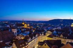 Ora blu concentrare storica di paesaggio urbano di Praga Fotografia Stock Libera da Diritti