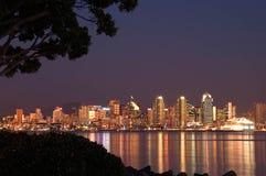 Ora blu San Diego e porto Fotografia Stock