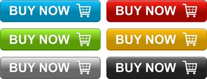 Ora compri i bottoni di web variopinti Immagine Stock