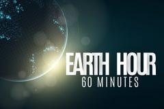 Ora della terra Pianeta Terra futuristico 60 minuti senza elettricità lettere della carta 3D ALBA Festa globale L'orologio va Est illustrazione vettoriale