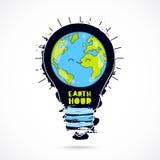 Ora della terra Pianeta in lampadina illustrazione di stock