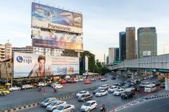 Ora di punta di sera nel centro di Bangkok, Tailandia Immagine Stock Libera da Diritti