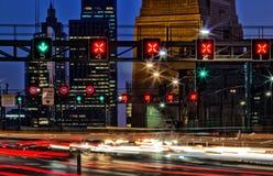 Ora di punta di sera su Sydney Harbour Bridge Fotografia Stock