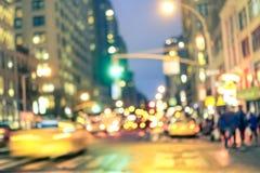 Ora di punta e ingorgo stradale astratti in New York Fotografia Stock Libera da Diritti