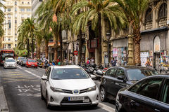 Ora di punta nel centro del centro di Valencia City Fotografie Stock Libere da Diritti