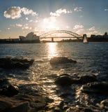 Ora dorata in Sydney Harbour immagini stock