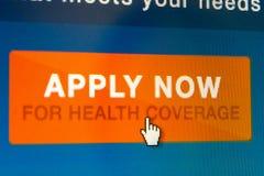 Ora faccia domanda per copertura di salute Immagini Stock Libere da Diritti