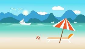 Ora legale con la sedia della palla dell'ombrello sulla spiaggia la barca nell'uccello del sole e del mare pilota luminoso sopra  royalty illustrazione gratis
