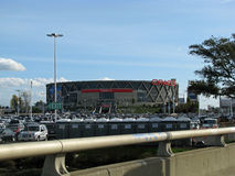 Oracle arena in Oakland, California. Cars parked in lot at Oracle Arena in Oakland, California before a Raider's NFL football game stock images