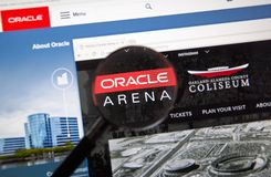 Oracle arenawebbsida arkivfoto