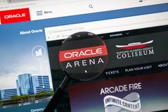 Oracle arenawebbsida arkivbilder